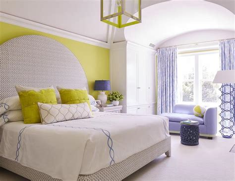 Gray Canopy Bed With Citron Green Headboard