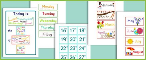 daily calendar  early years primary teaching