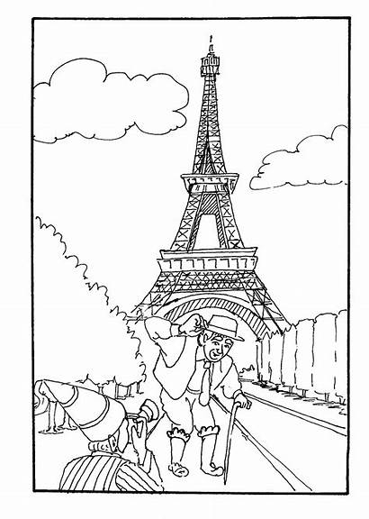 Coloring Eiffel Tower Drawing France Sheets Ausmalbilder
