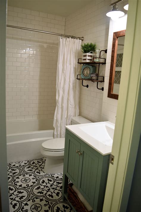 small bathroom remodel  subway tile walls  cement