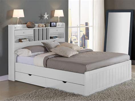 lit adulte avec rangement integre lit mederick avec rangements 140x190 pin massif
