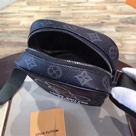 original copy louis vuitton danube pm vivienne monogram eclipse  black canvas messenger bag
