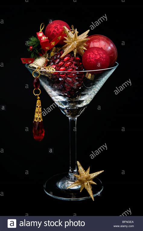 red  gold christmas decorations  cocktail glass