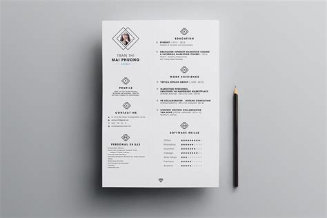 clean resume cv design template psd file good resume