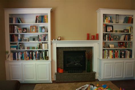 Interior Wall Mounted Tv With Diy Built In Bookcase And