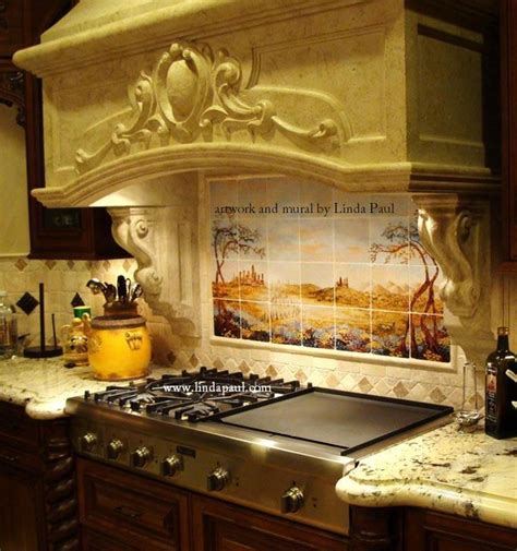 italian kitchens tuscan kitchen tile mural backsplash