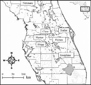 Map of Central Florida showing the locations of the ...