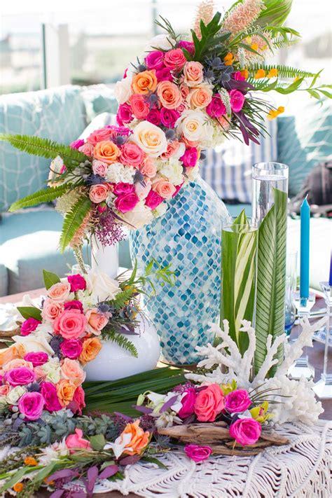 wedding decor tropical bouquet ideas beachy color