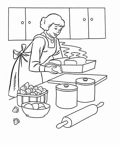 Coloring Pages Dinner Thanksgiving Cooking Kitchen Printables