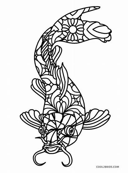 Coloring Fish Adults Printable Fishing Colouring Cool2bkids