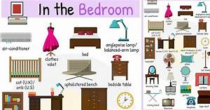 In the bedroom vocabulary names of bedroom objects 7 e s l for Furniture found in the home