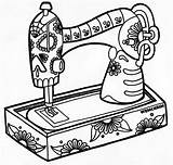Sewing Coloring Machine Skele Wenchkin Colouring Printable Drawing Adult Yuccaflatsnm Pm sketch template