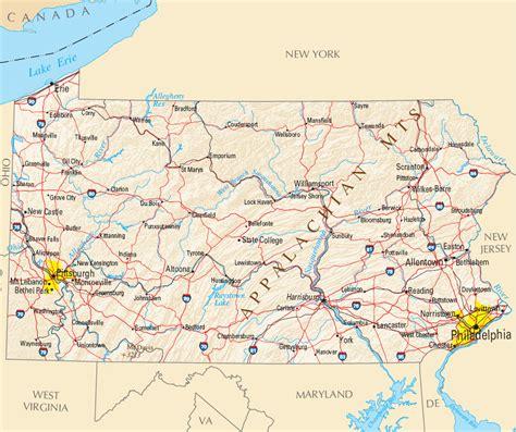 Carte Usa Villes Philadelphie by Carte Pennsylvanie