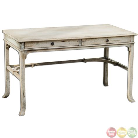 solid wood writing desk bridgely aged white finish solid wood writing desk 25602