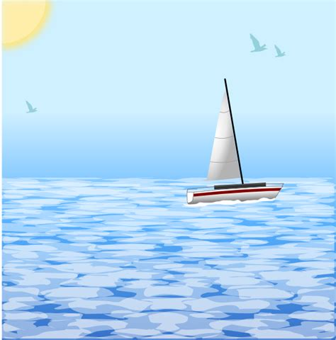 Sea Clipart Sea With Boat Clip At Clker Vector Clip