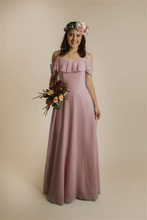 carine dress  dusty pink babys breath bridesmaids