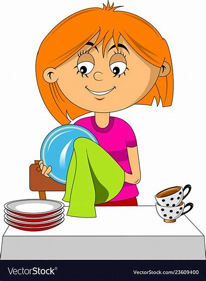 Dishes Dry Clipart Vectorstock Clip Drawing Plates