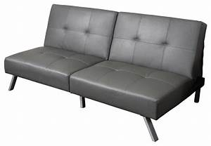 heston vinyl click clack futon sofa bed grey modern With vinyl sofa bed