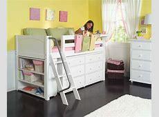 Maxtrix Kids Low Loft Bed w Built In Dresser & Bookcase