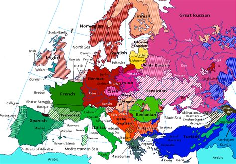 linguistic map  europe   cross cultural