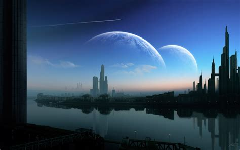 outer space cityscapes city planets digital art science