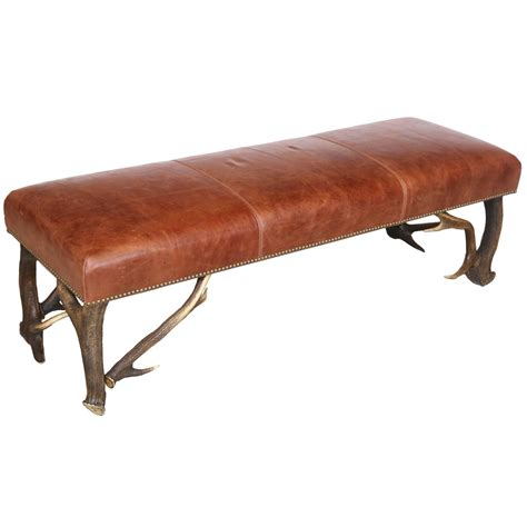 vintage leather bench leather bench with vintage european stag antler legs for 3233