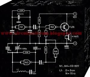 Metal Detector Circuit Using 4011