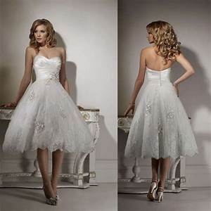 fabulous strapless sweetheart lace short mid calf wedding With mid calf wedding dresses