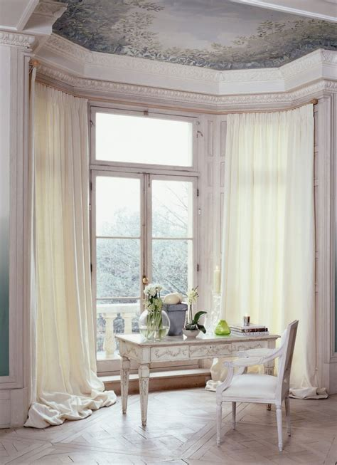 bay window curtain rod ideas  pinterest bay