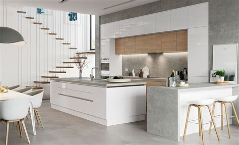 contemporary white kitchen zola gloss handleless 2550
