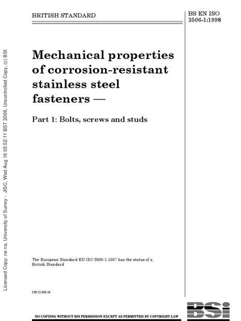 BS EN ISO 3506 Part1 1998 | Stainless Steel | Screw