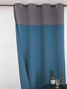 Rideau Bleu Gris : rideau occultant bicolore gris bleu noir gris noir et beige taupe et blanc ~ Teatrodelosmanantiales.com Idées de Décoration
