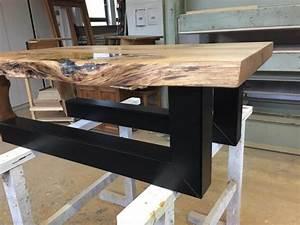 Table Resine Bois : table bois de ch ne avec lor et r sine poxy cadre noir ~ Teatrodelosmanantiales.com Idées de Décoration