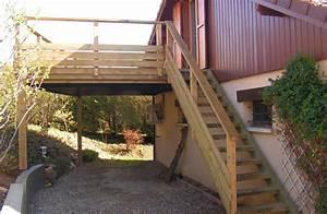 Escalier Extérieur En Bois : terrasse bois escalier bois et garde corps bois en pin ~ Dailycaller-alerts.com Idées de Décoration