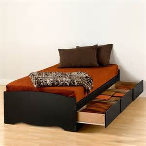 prepac sonoma black twin xl platform storage bed with