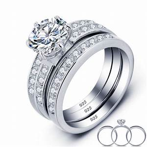 luxury solid 925 sterling silver wedding engagement ring With solid silver wedding rings