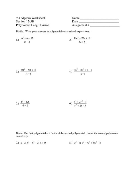 synthetic division of polynomials worksheet with answers