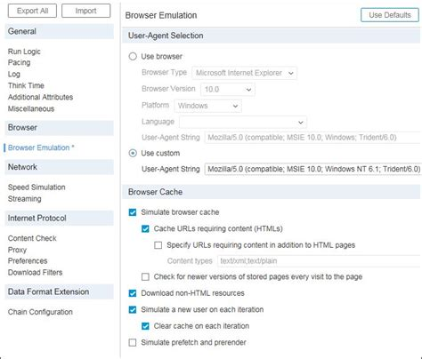 emulation settings browser loadrunner runtime hp