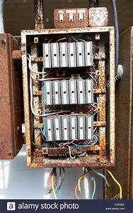 Old Rusty Electrical Fuse Box  Uk Stock Photo  Royalty