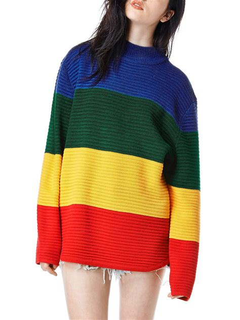 color block sleeve sweaterfor romwe