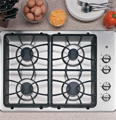 cooktop gas ge built burner stainless steel sealed geappliances tempered glass kitchen appliances ignition electronic windmax inch stove system control