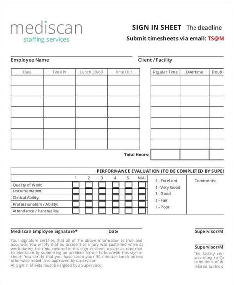 employee sign  sheets   word  excel