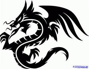 How to Draw a Dragon Tribal, Tribal Dragon Tattoo, Step by ...