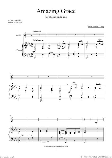 Amazing Grace Alto Sax Sheet Music