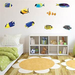 school of fish wall decals blue fish wall decals With fish wall decals