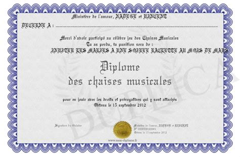chaises musicales diplome des chaises musicales