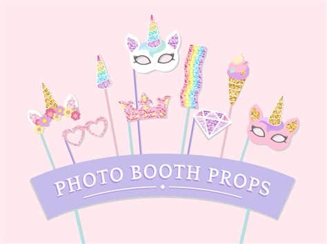 Find & download free graphic resources for unicorn. Cute unicorn photo booth party props vector - Download ...