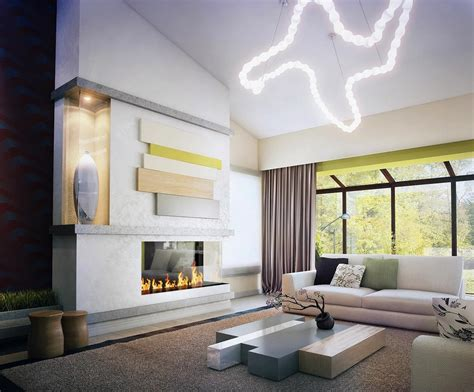 Fresh-green-white-neutral-modern-living-room-decor-with-fire-place