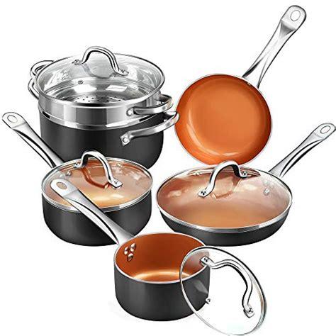 shineuri nonstick ceramic copper  pieces cookware set aluminum pots  frying pans set