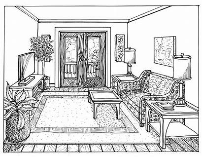 Perspective Point Drawing Interior Sketch Sketches Draw